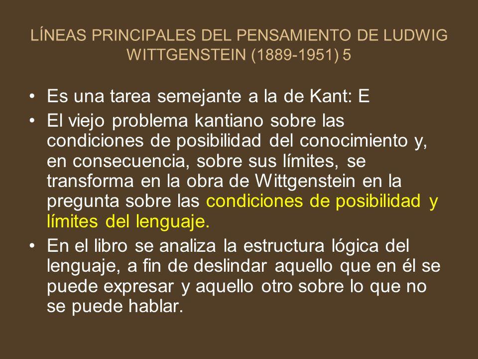 LÍNEAS PRINCIPALES DEL PENSAMIENTO DE LUDWIG WITTGENSTEIN (1889-1951) 5 Es una tarea semejante a la de Kant: E El viejo problema kantiano sobre las co