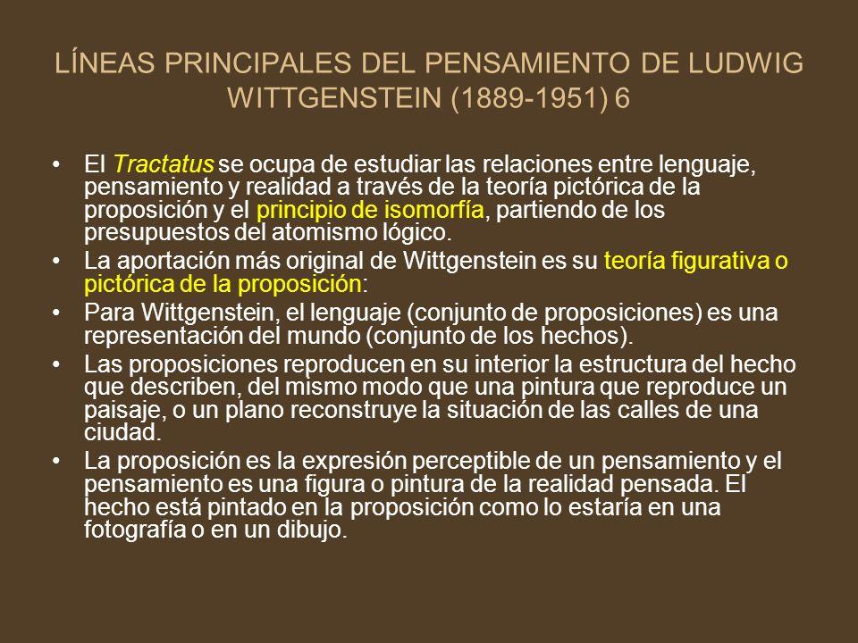 LÍNEAS PRINCIPALES DEL PENSAMIENTO DE LUDWIG WITTGENSTEIN (1889-1951) 6 El Tractatus se ocupa de estudiar las relaciones entre lenguaje, pensamiento y