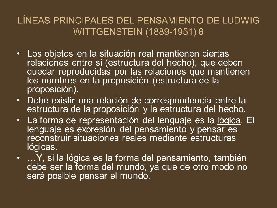 LÍNEAS PRINCIPALES DEL PENSAMIENTO DE LUDWIG WITTGENSTEIN (1889-1951) 8 Los objetos en la situación real mantienen ciertas relaciones entre sí (estruc