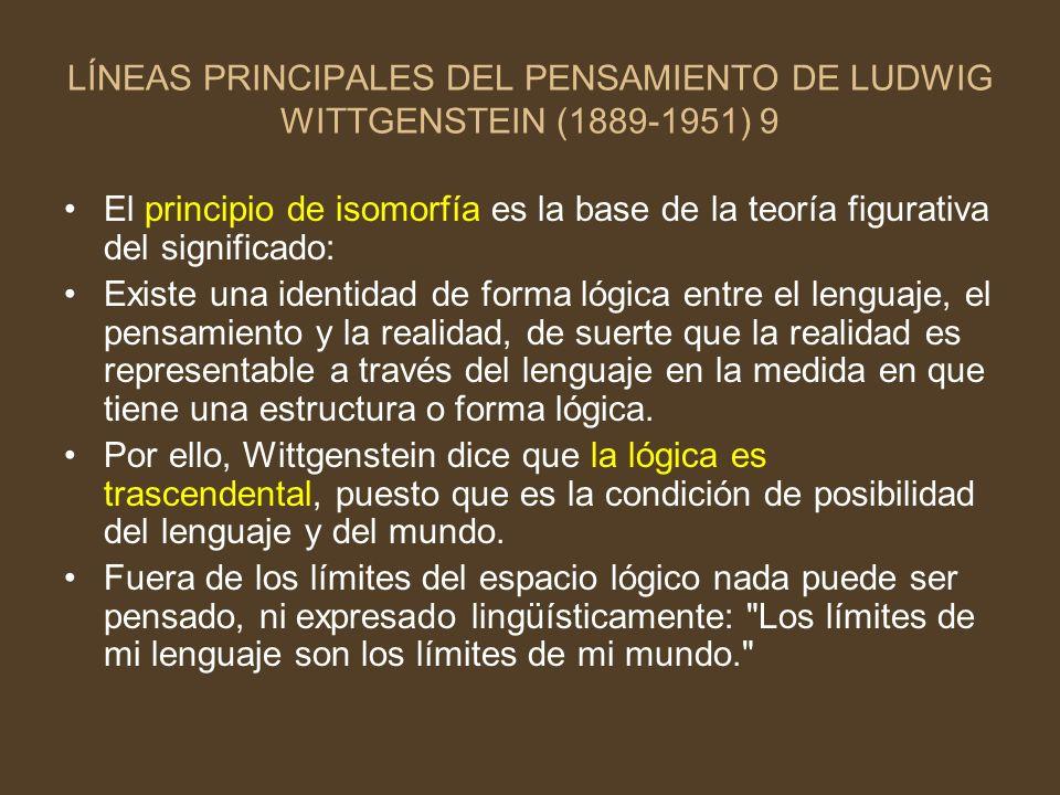 LÍNEAS PRINCIPALES DEL PENSAMIENTO DE LUDWIG WITTGENSTEIN (1889-1951) 9 El principio de isomorfía es la base de la teoría figurativa del significado: