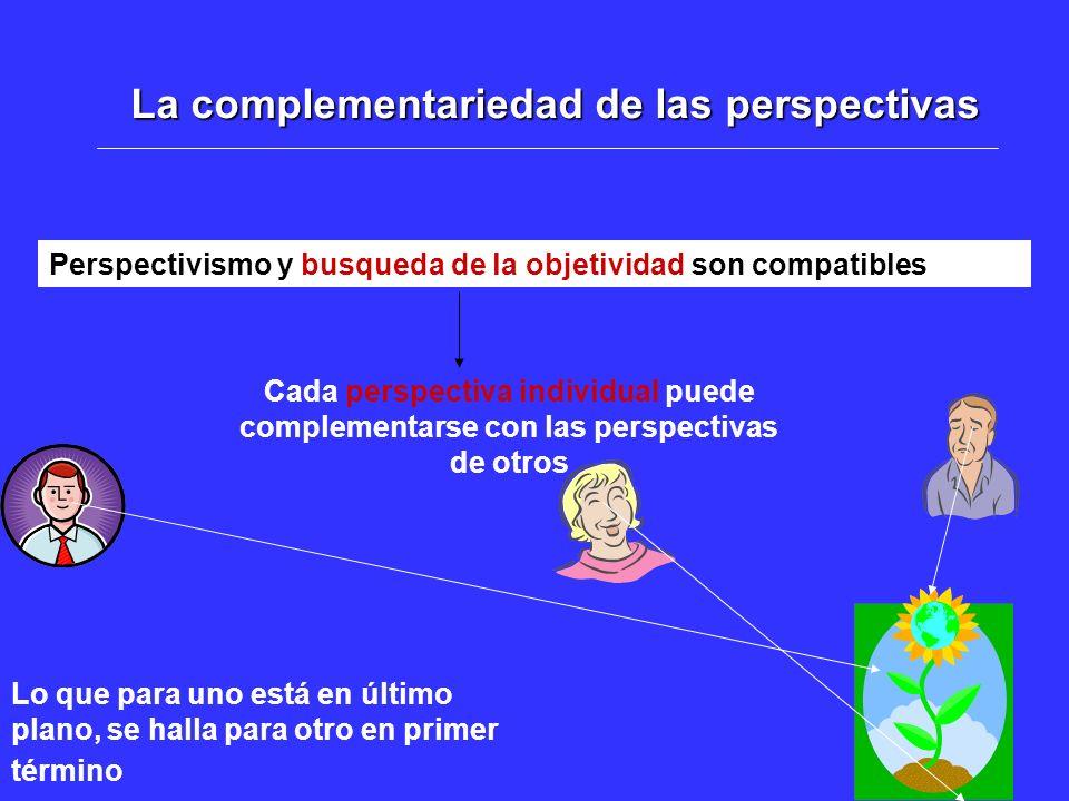 La complementariedad de las perspectivas Perspectivismo y busqueda de la objetividad son compatibles Cada perspectiva individual puede complementarse