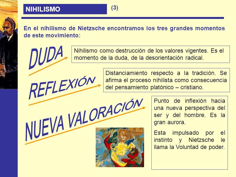 NIHILISMO En el nihilismo de Nietzsche encontramos los tres grandes momentos de este movimiento: Nihilismo como destrucción de los valores vigentes. E