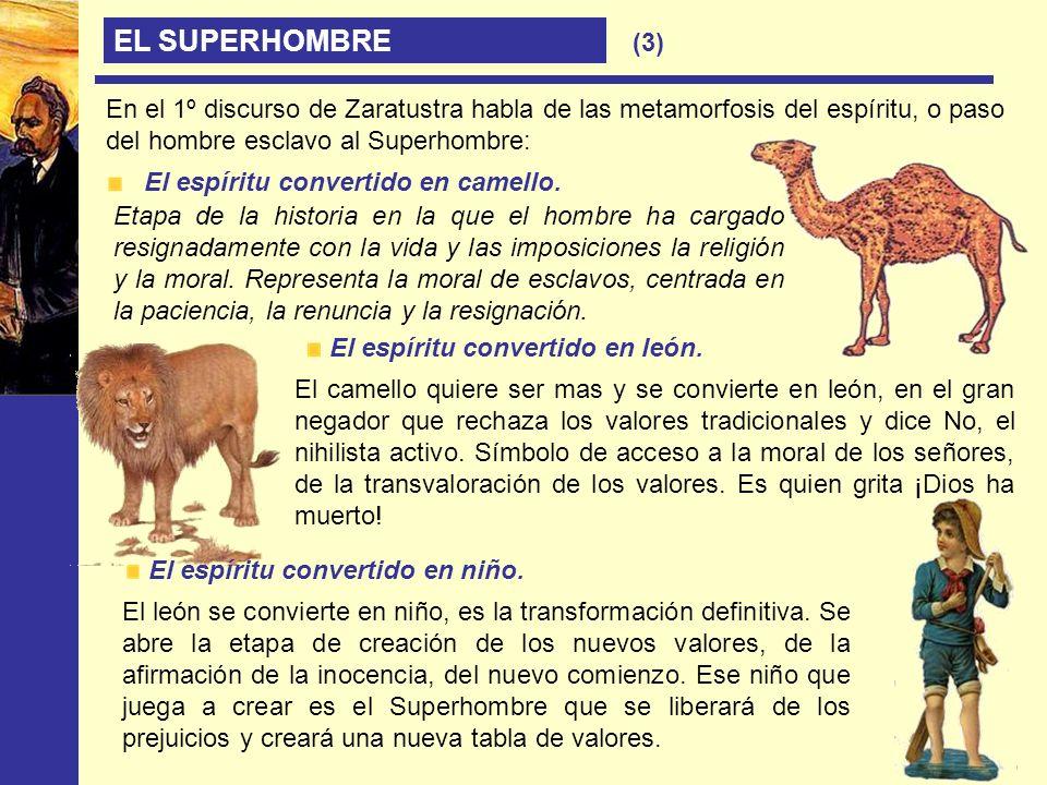 EL SUPERHOMBRE En el 1º discurso de Zaratustra habla de las metamorfosis del espíritu, o paso del hombre esclavo al Superhombre: El espíritu convertid