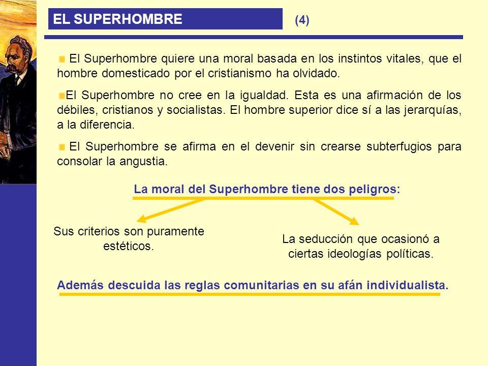 EL SUPERHOMBRE (4) El Superhombre quiere una moral basada en los instintos vitales, que el hombre domesticado por el cristianismo ha olvidado. El Supe