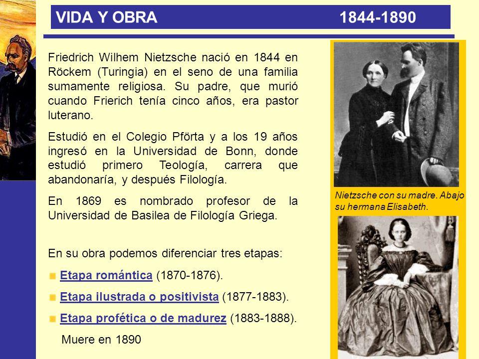 VIDA Y OBRA 1844-1890 Friedrich Wilhem Nietzsche nació en 1844 en Röckem (Turingia) en el seno de una familia sumamente religiosa. Su padre, que murió