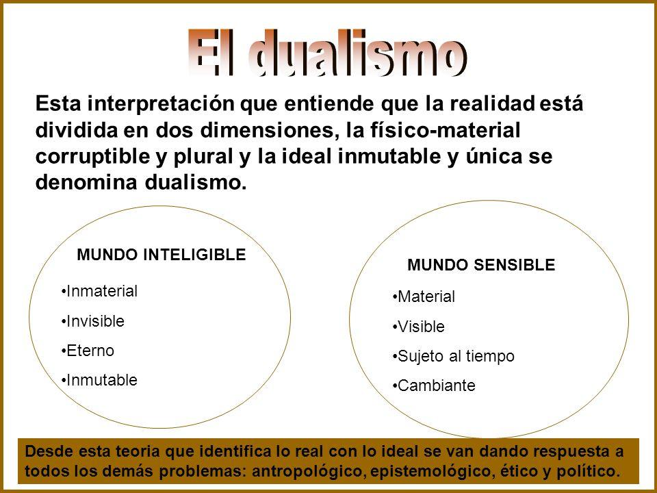 Esta interpretación que entiende que la realidad está dividida en dos dimensiones, la físico-material corruptible y plural y la ideal inmutable y únic