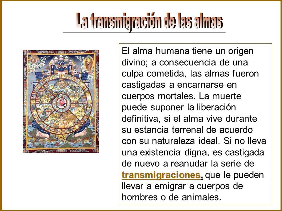 transmigraciones, El alma humana tiene un origen divino; a consecuencia de una culpa cometida, las almas fueron castigadas a encarnarse en cuerpos mor