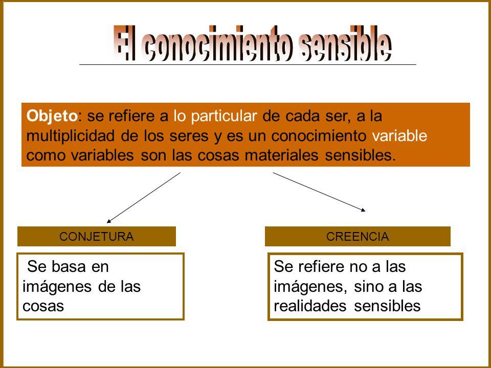 Objeto: se refiere a lo particular de cada ser, a la multiplicidad de los seres y es un conocimiento variable como variables son las cosas materiales