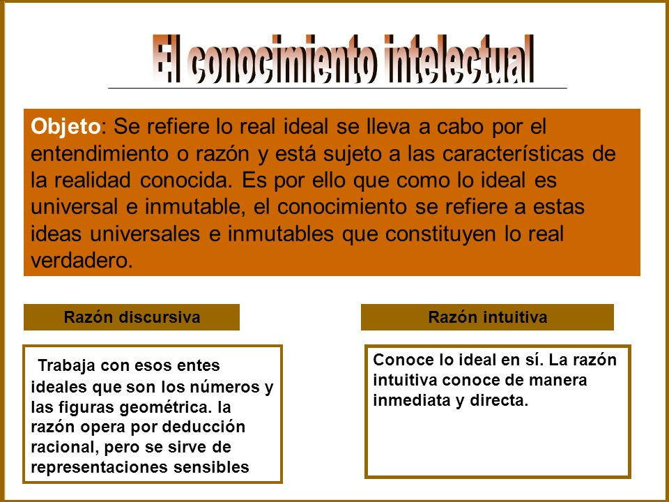 Objeto: Se refiere lo real ideal se lleva a cabo por el entendimiento o razón y está sujeto a las características de la realidad conocida. Es por ello