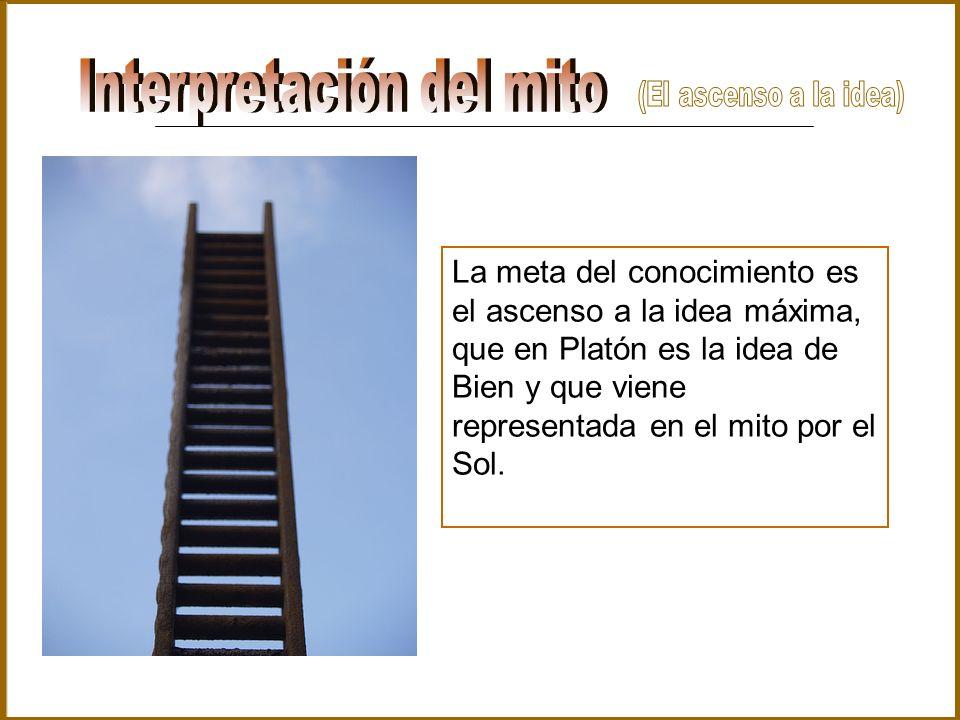 La meta del conocimiento es el ascenso a la idea máxima, que en Platón es la idea de Bien y que viene representada en el mito por el Sol.