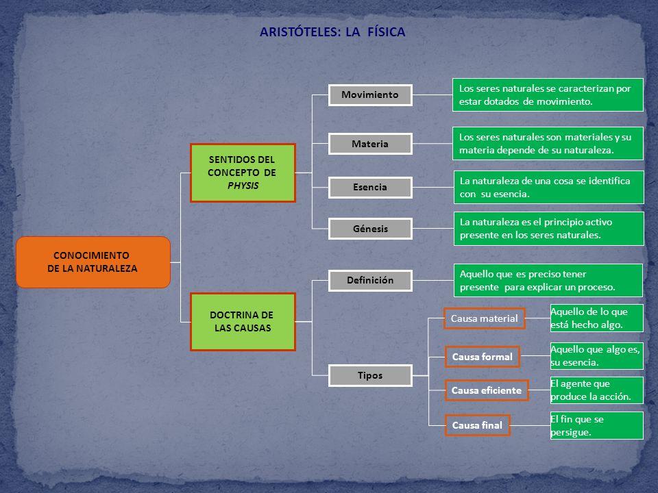 CONOCIMIENTO DE LA NATURALEZA ARISTÓTELES: LA FÍSICA SENTIDOS DEL CONCEPTO DE PHYSIS DOCTRINA DE LAS CAUSAS Movimiento Materia Esencia Génesis Definic