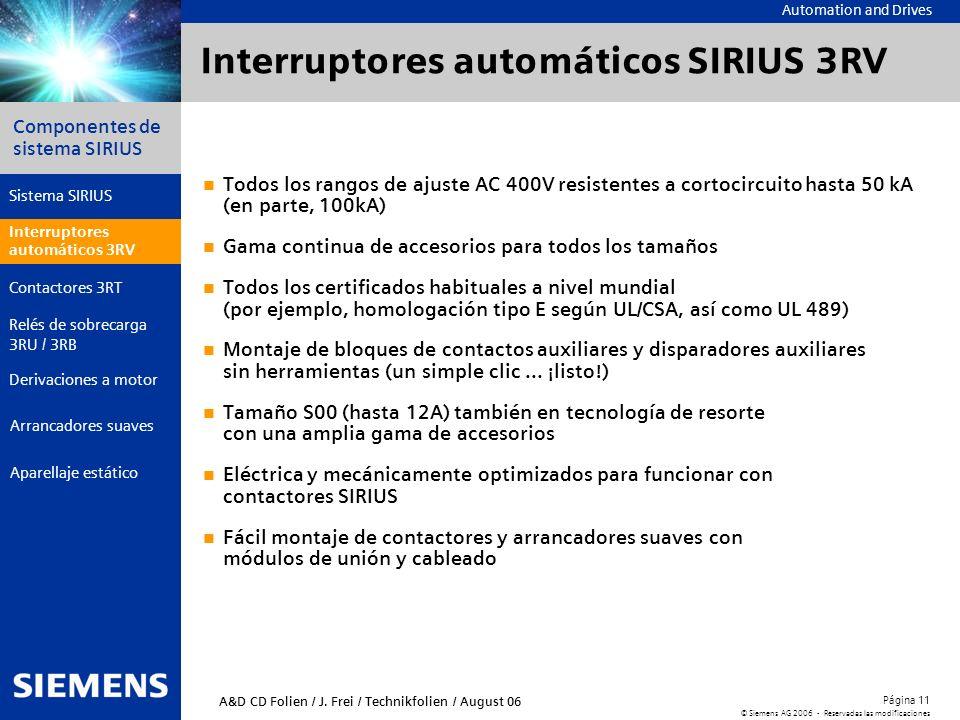 Automation and Drives Componentes de sistema SIRIUS Página 11 © Siemens AG 2006 - Reservadas las modificaciones Aparellaje estático Arrancadores suave
