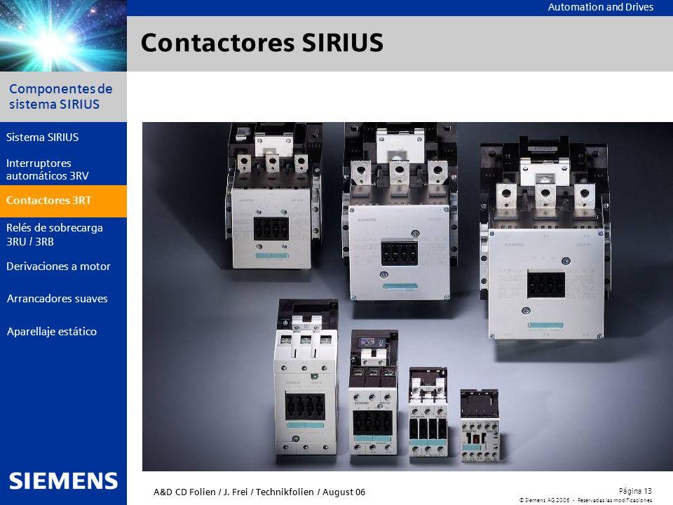 Automation and Drives Componentes de sistema SIRIUS Página 13 © Siemens AG 2006 - Reservadas las modificaciones Aparellaje estático Arrancadores suave