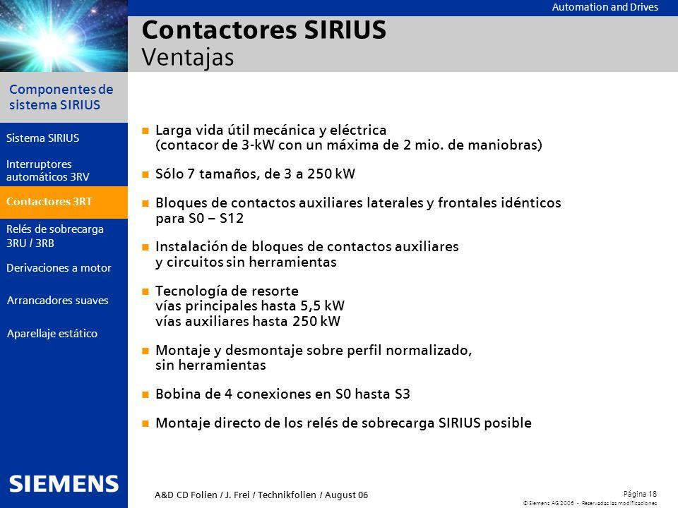 Automation and Drives Componentes de sistema SIRIUS Página 18 © Siemens AG 2006 - Reservadas las modificaciones Aparellaje estático Arrancadores suave