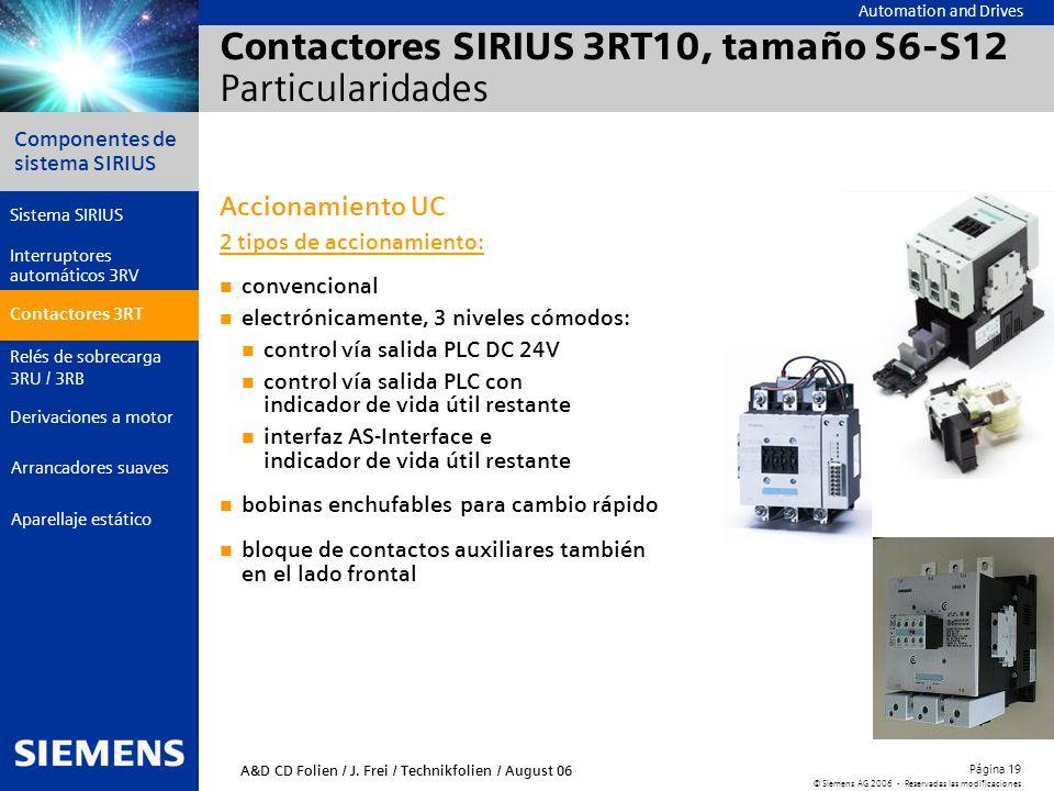 Automation and Drives Componentes de sistema SIRIUS Página 19 © Siemens AG 2006 - Reservadas las modificaciones Aparellaje estático Arrancadores suave