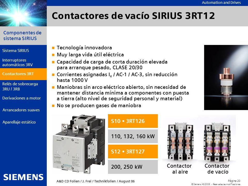 Automation and Drives Componentes de sistema SIRIUS Página 20 © Siemens AG 2006 - Reservadas las modificaciones Aparellaje estático Arrancadores suave