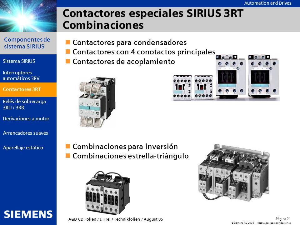 Automation and Drives Componentes de sistema SIRIUS Página 21 © Siemens AG 2006 - Reservadas las modificaciones Aparellaje estático Arrancadores suave