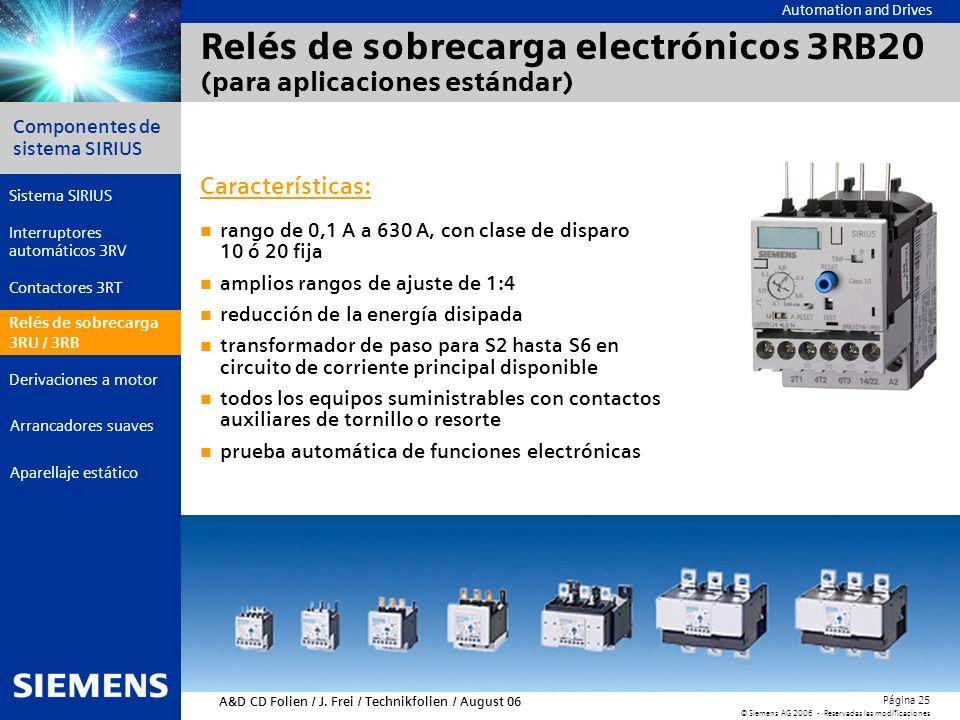 Automation and Drives Componentes de sistema SIRIUS Página 25 © Siemens AG 2006 - Reservadas las modificaciones Aparellaje estático Arrancadores suave