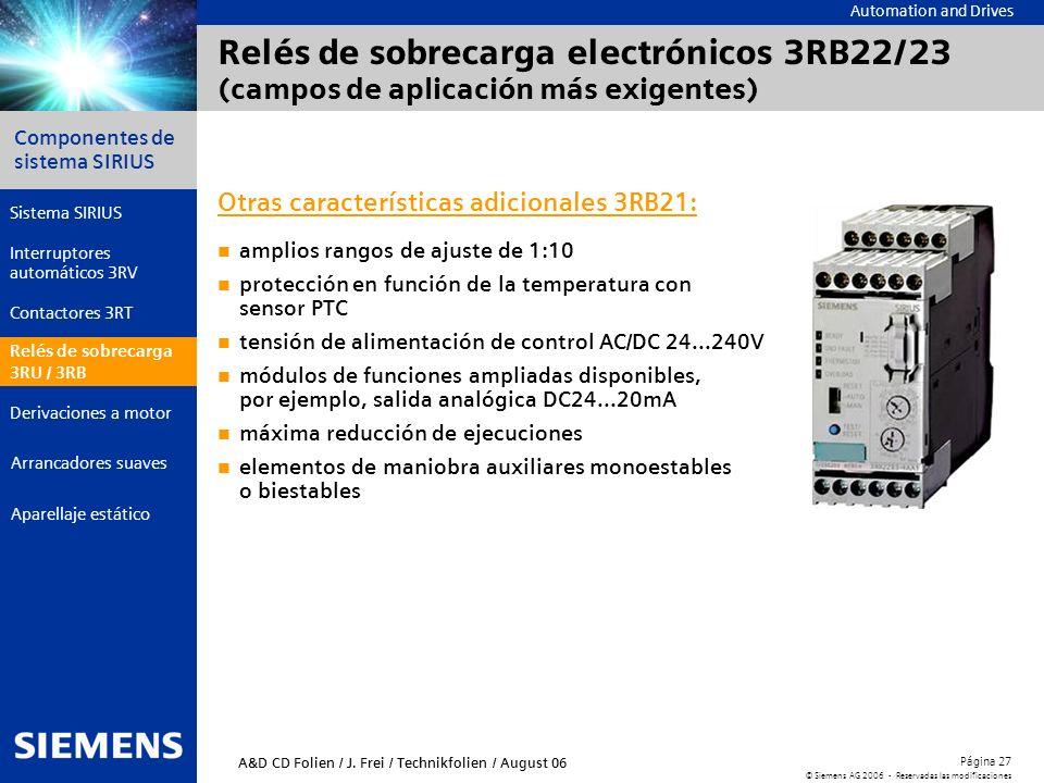 Automation and Drives Componentes de sistema SIRIUS Página 27 © Siemens AG 2006 - Reservadas las modificaciones Aparellaje estático Arrancadores suave