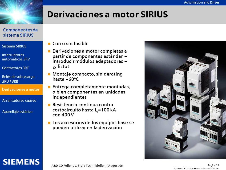 Automation and Drives Componentes de sistema SIRIUS Página 29 © Siemens AG 2006 - Reservadas las modificaciones Aparellaje estático Arrancadores suave