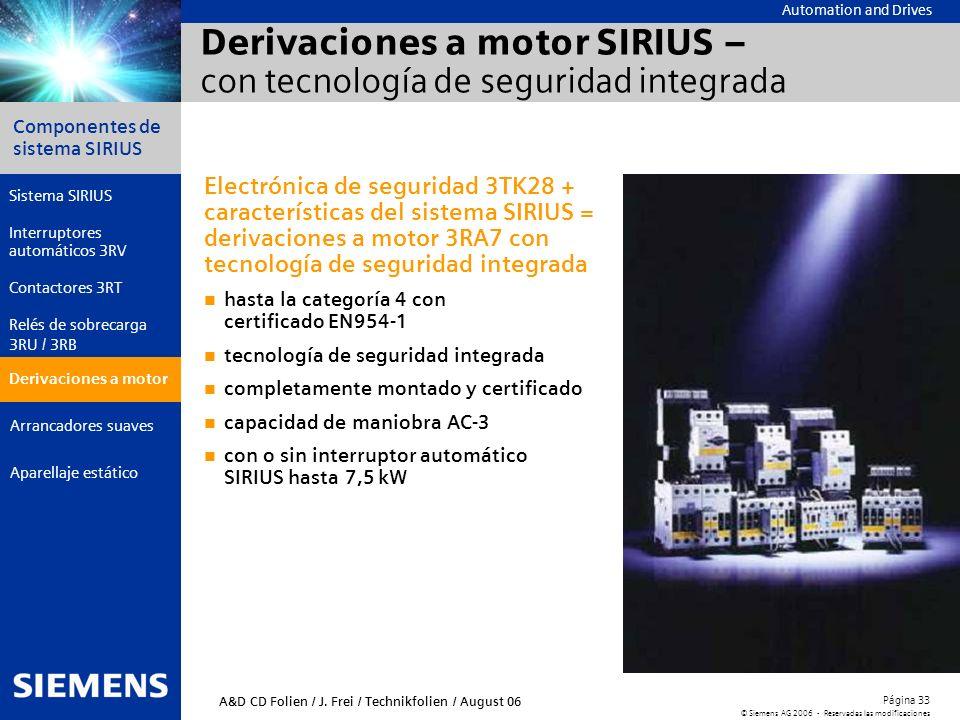Automation and Drives Componentes de sistema SIRIUS Página 33 © Siemens AG 2006 - Reservadas las modificaciones Aparellaje estático Arrancadores suave