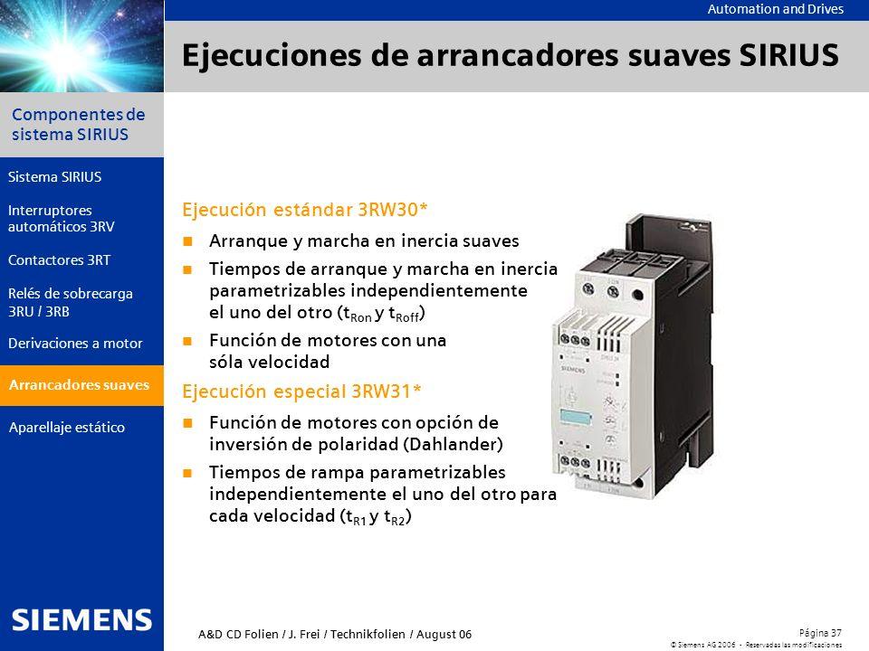Automation and Drives Componentes de sistema SIRIUS Página 37 © Siemens AG 2006 - Reservadas las modificaciones Aparellaje estático Arrancadores suave