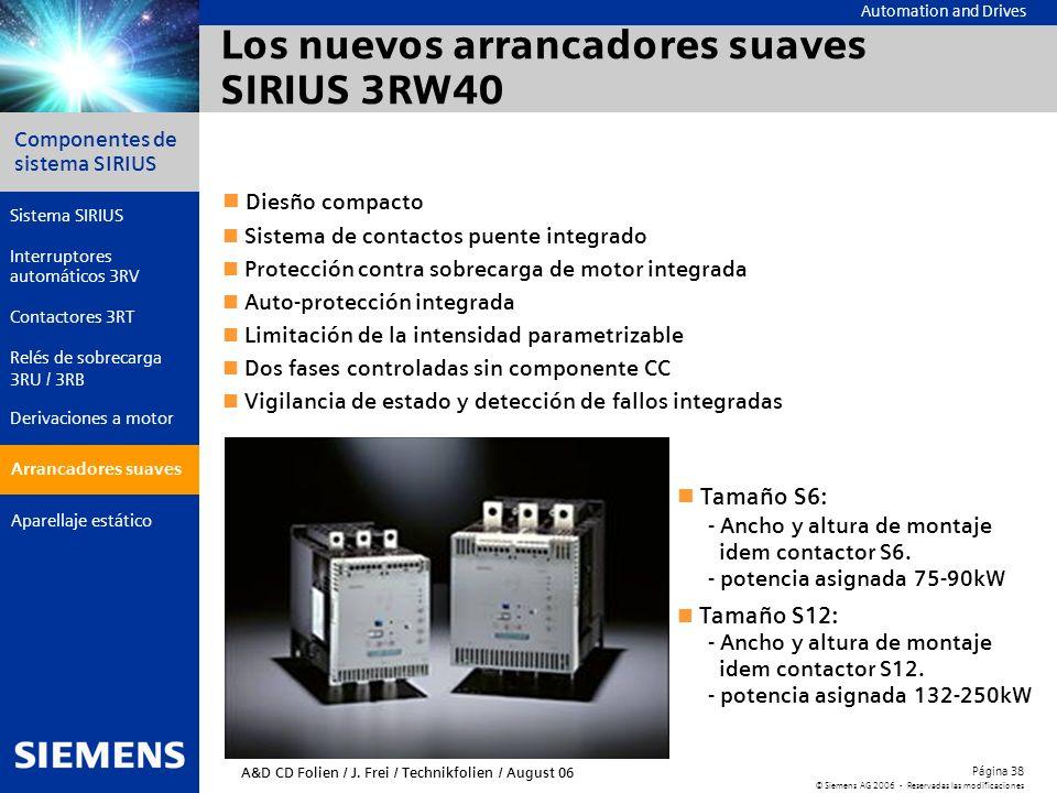 Automation and Drives Componentes de sistema SIRIUS Página 38 © Siemens AG 2006 - Reservadas las modificaciones Aparellaje estático Arrancadores suave