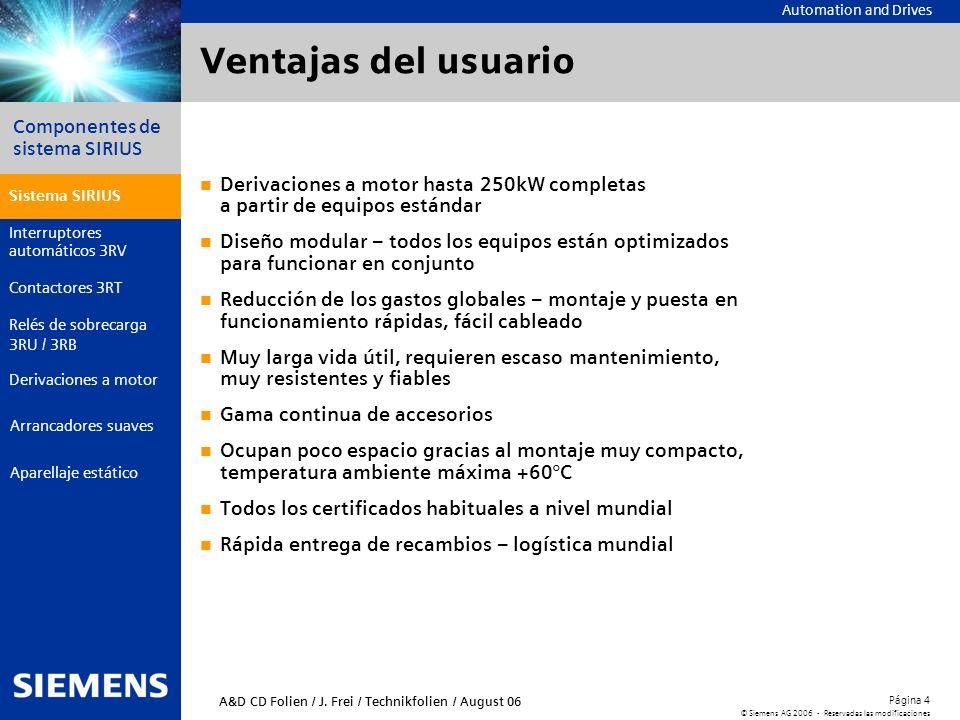 Automation and Drives Componentes de sistema SIRIUS Página 4 © Siemens AG 2006 - Reservadas las modificaciones Aparellaje estático Arrancadores suaves