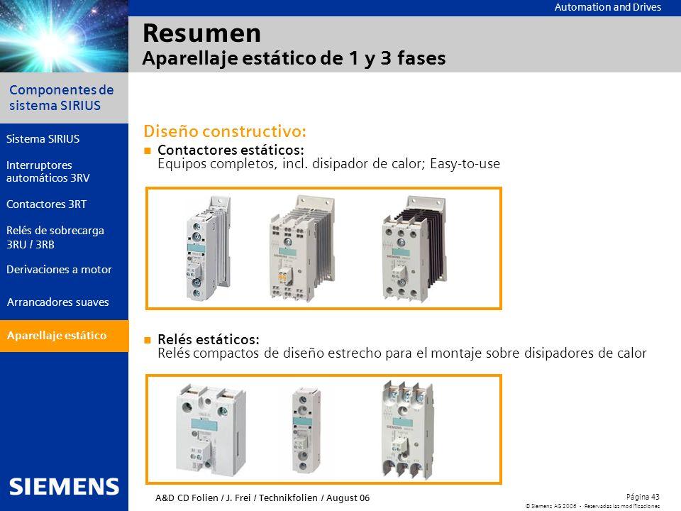 Automation and Drives Componentes de sistema SIRIUS Página 43 © Siemens AG 2006 - Reservadas las modificaciones Aparellaje estático Arrancadores suave