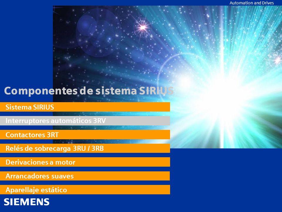 Automation and Drives Componentes de sistema SIRIUS Sistema SIRIUS Interruptores automáticos 3RV Contactores 3RT Relés de sobrecarga 3RU / 3RB Derivac
