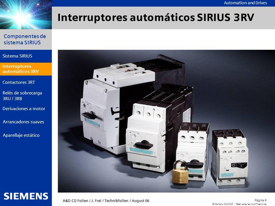 Automation and Drives Componentes de sistema SIRIUS Página 9 © Siemens AG 2006 - Reservadas las modificaciones Aparellaje estático Arrancadores suaves