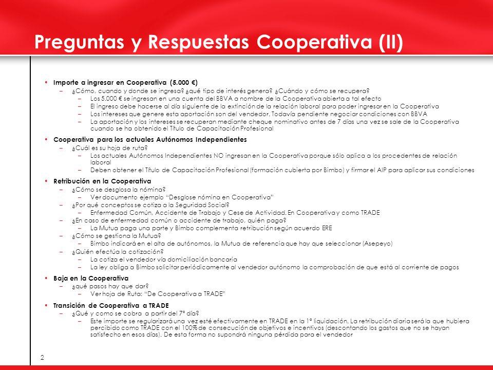 2 Preguntas y Respuestas Cooperativa (II) Importe a ingresar en Cooperativa (5.000 ) –¿Cómo, cuando y donde se ingresa? ¿qué tipo de interés genera? ¿