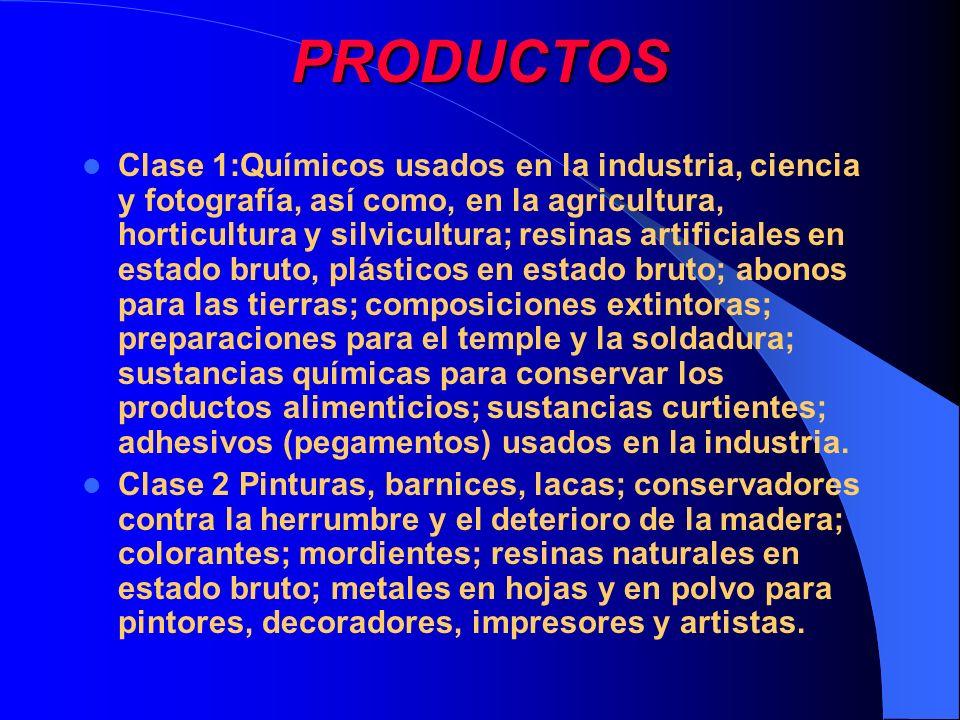 PRODUCTOS Clase 1:Químicos usados en la industria, ciencia y fotografía, así como, en la agricultura, horticultura y silvicultura; resinas artificiale