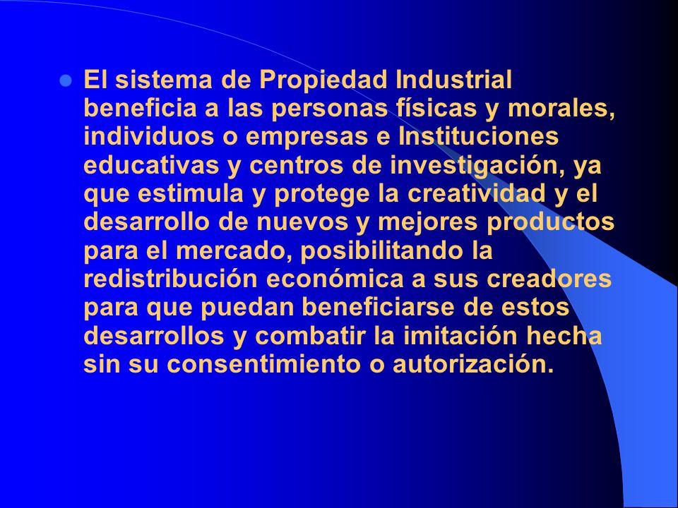 El sistema de Propiedad Industrial beneficia a las personas físicas y morales, individuos o empresas e Instituciones educativas y centros de investiga