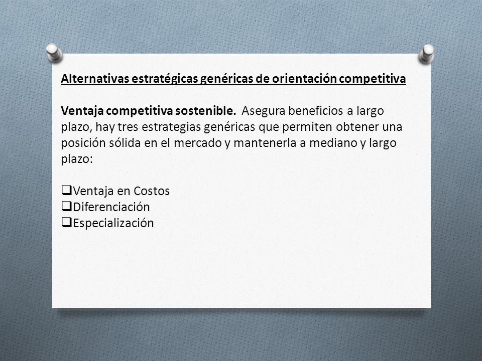 Alternativas estratégicas genéricas de orientación competitiva Ventaja competitiva sostenible. Asegura beneficios a largo plazo, hay tres estrategias