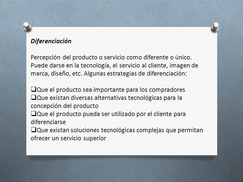 Diferenciación Percepción del producto o servicio como diferente o único. Puede darse en la tecnología, el servicio al cliente, imagen de marca, diseñ