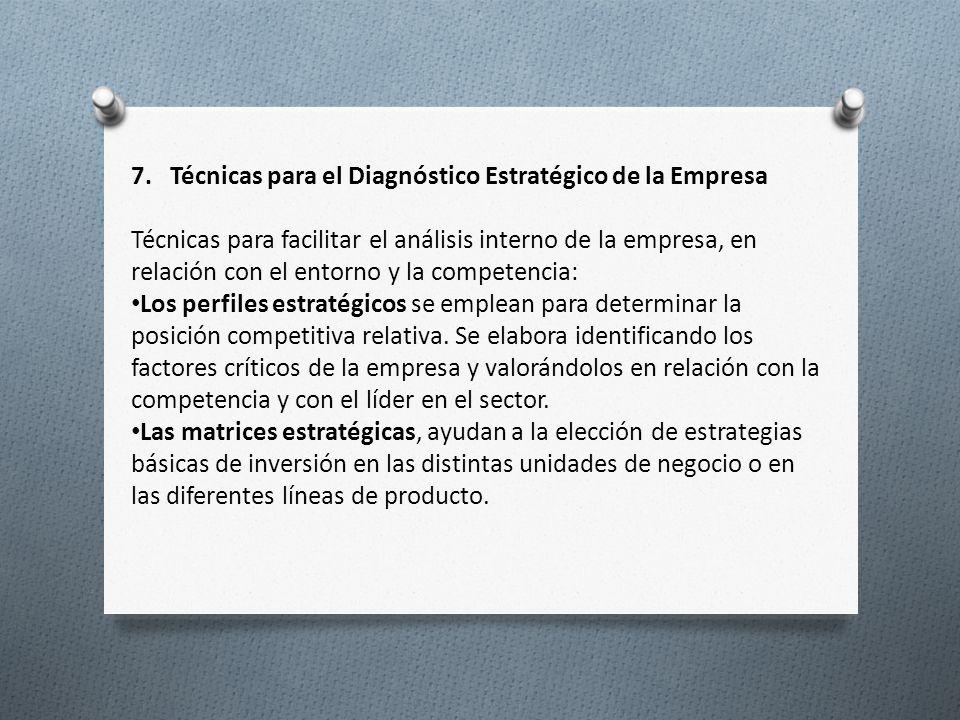 7. Técnicas para el Diagnóstico Estratégico de la Empresa Técnicas para facilitar el análisis interno de la empresa, en relación con el entorno y la c