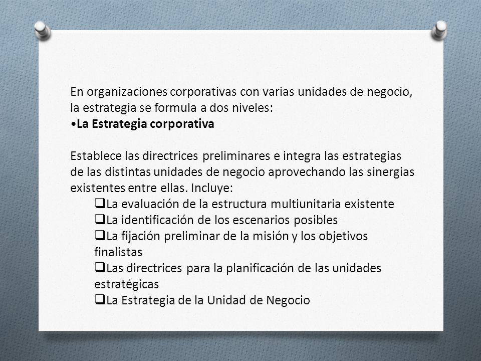En organizaciones corporativas con varias unidades de negocio, la estrategia se formula a dos niveles: La Estrategia corporativa Establece las directr
