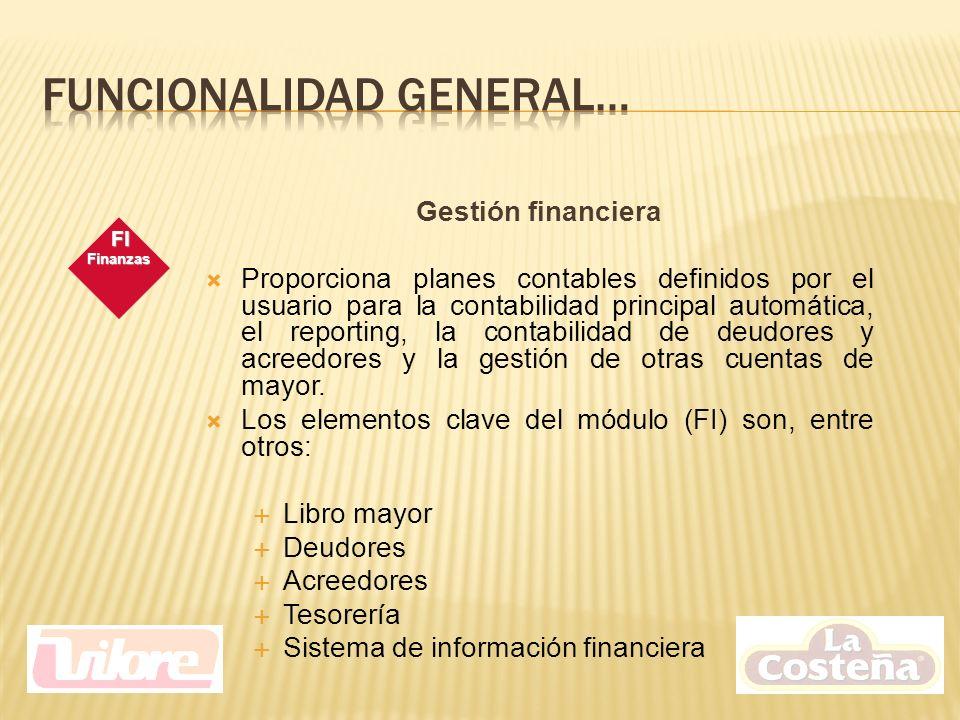 Gestión financiera Proporciona planes contables definidos por el usuario para la contabilidad principal automática, el reporting, la contabilidad de deudores y acreedores y la gestión de otras cuentas de mayor.