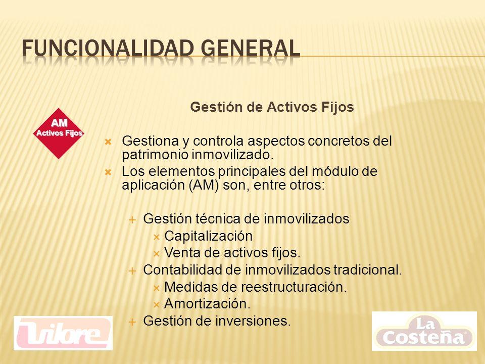 Gestión de Activos Fijos Gestiona y controla aspectos concretos del patrimonio inmovilizado.