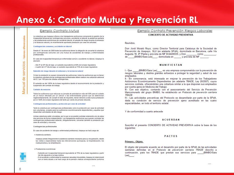 8 Anexo 6: Contrato Mutua y Prevención RL Ejemplo Contrato MutuaEjemplo Contrato Prevención Riesgos Laborales … …