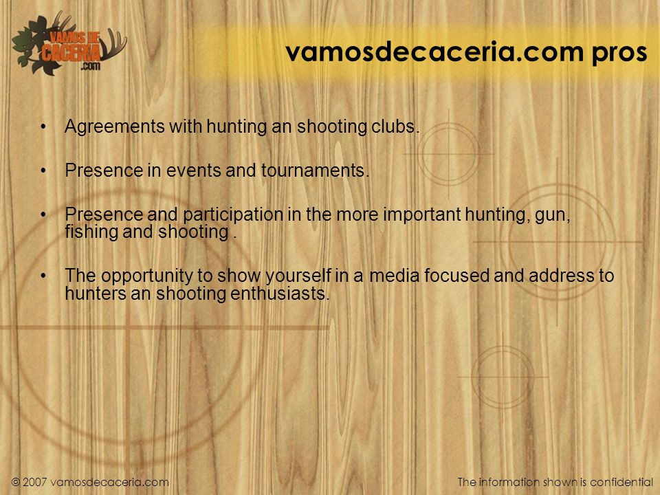 vamosdecaceria.com pros Agreements with hunting an shooting clubs.