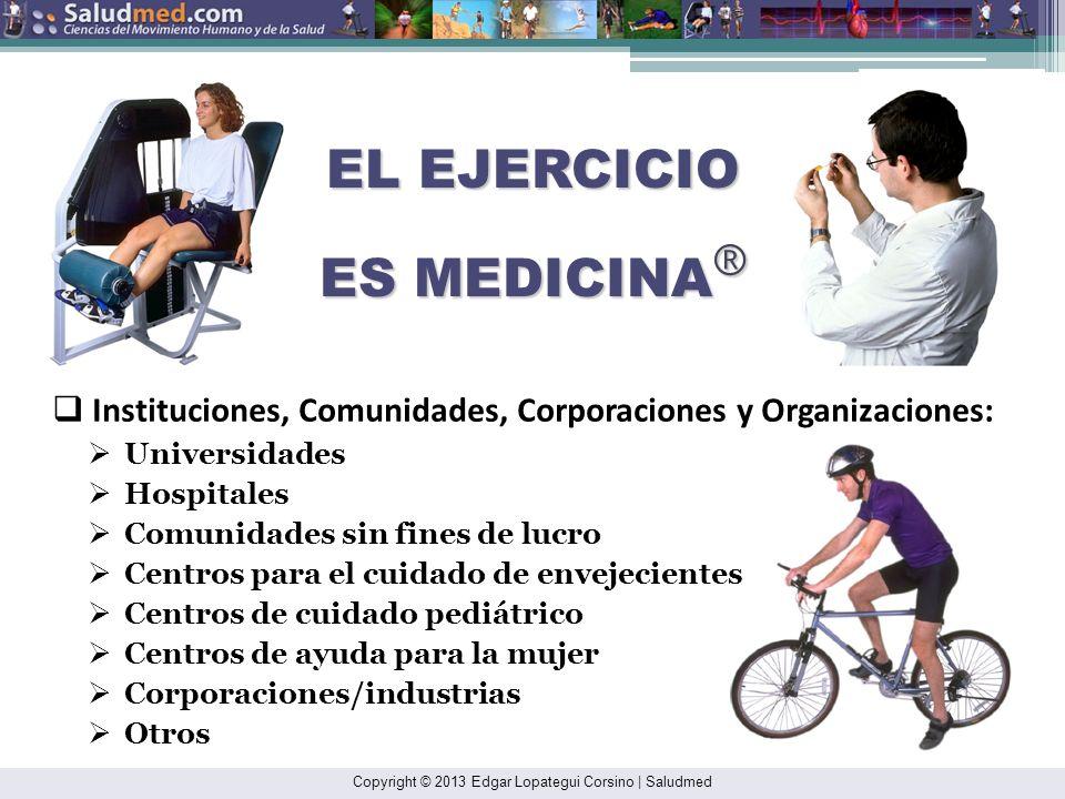 EL EJERCICIO ES MEDICINA ® Equipo - Recursos humanos: Profesionales aliados a la salud: Fisiólogos del ejercicio clínicos Médicos Maestros de educació