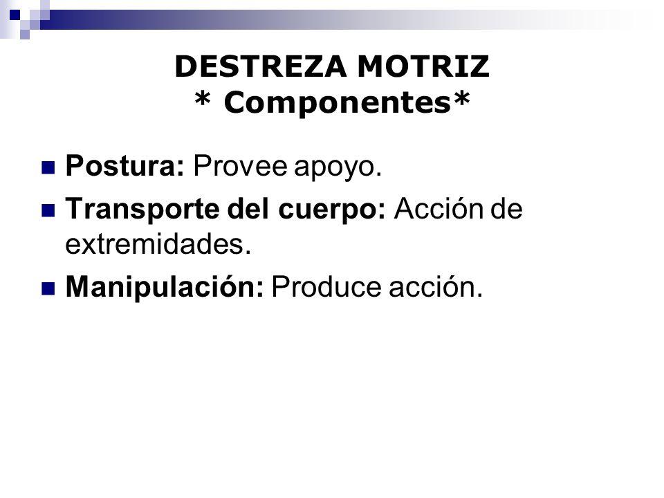 DESTREZA MOTRIZ * Componentes* Postura: Provee apoyo. Transporte del cuerpo: Acción de extremidades. Manipulación: Produce acción.