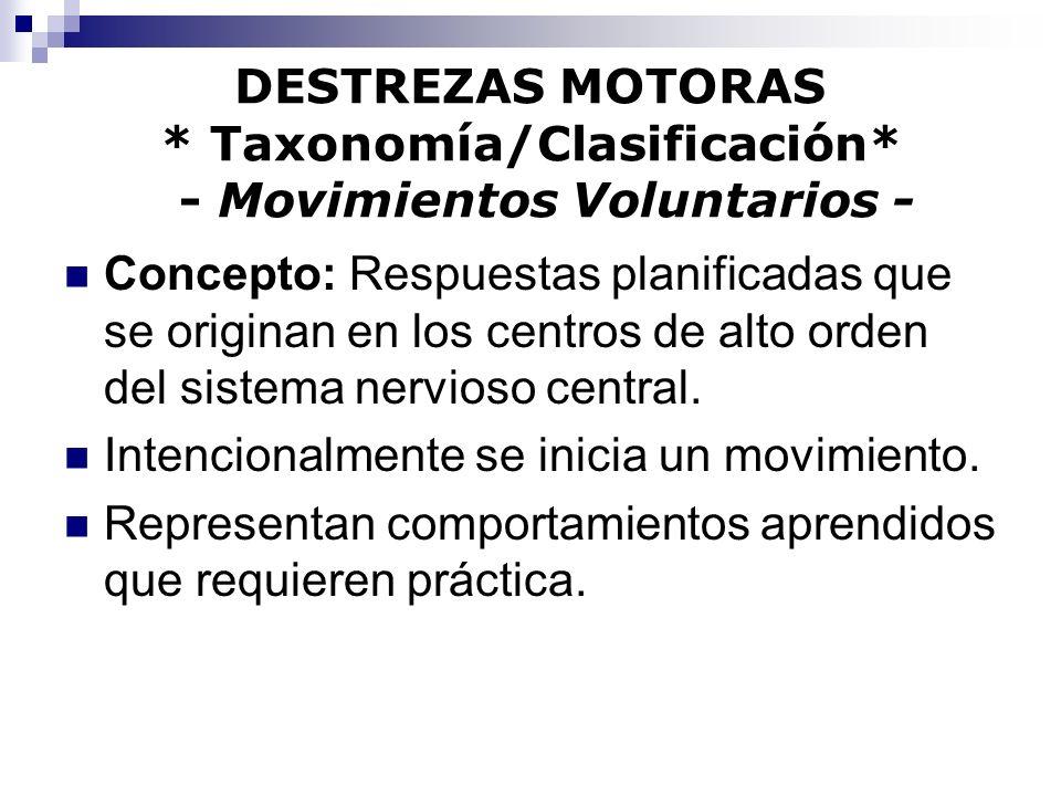 DESTREZAS MOTORAS * Taxonomía/Clasificación* - Movimientos Voluntarios - Concepto: Respuestas planificadas que se originan en los centros de alto orde