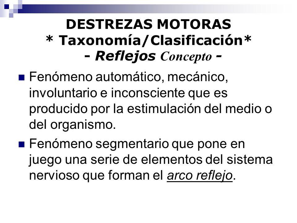 DESTREZAS MOTORAS * Taxonomía/Clasificación* - Reflejos Concepto - Fenómeno automático, mecánico, involuntario e inconsciente que es producido por la