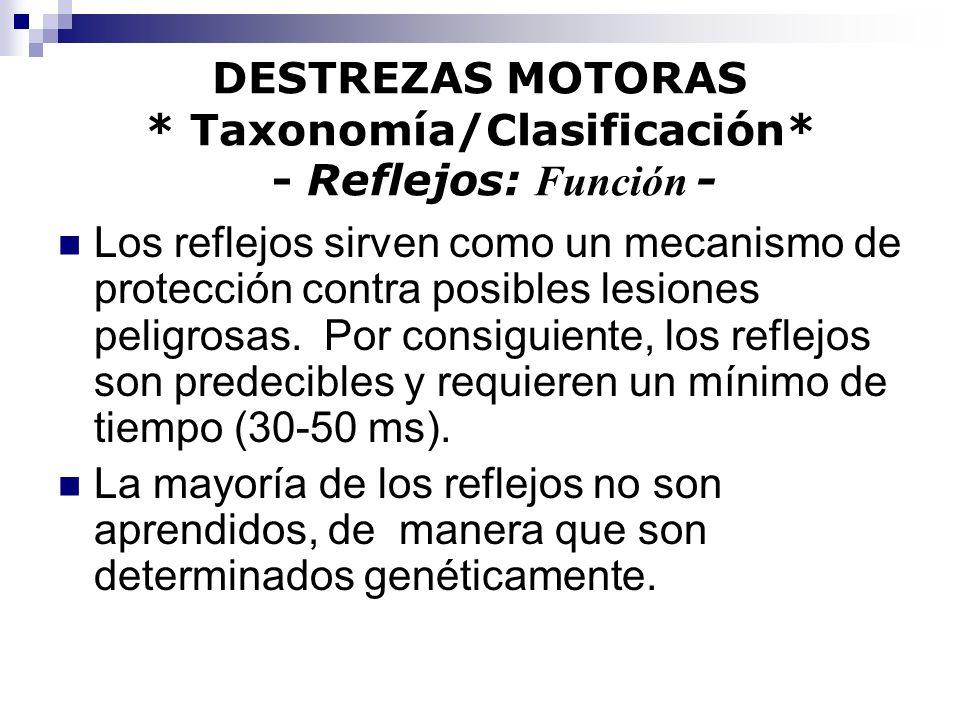DESTREZAS MOTORAS * Taxonomía/Clasificación* - Reflejos: Función - Los reflejos sirven como un mecanismo de protección contra posibles lesiones peligr
