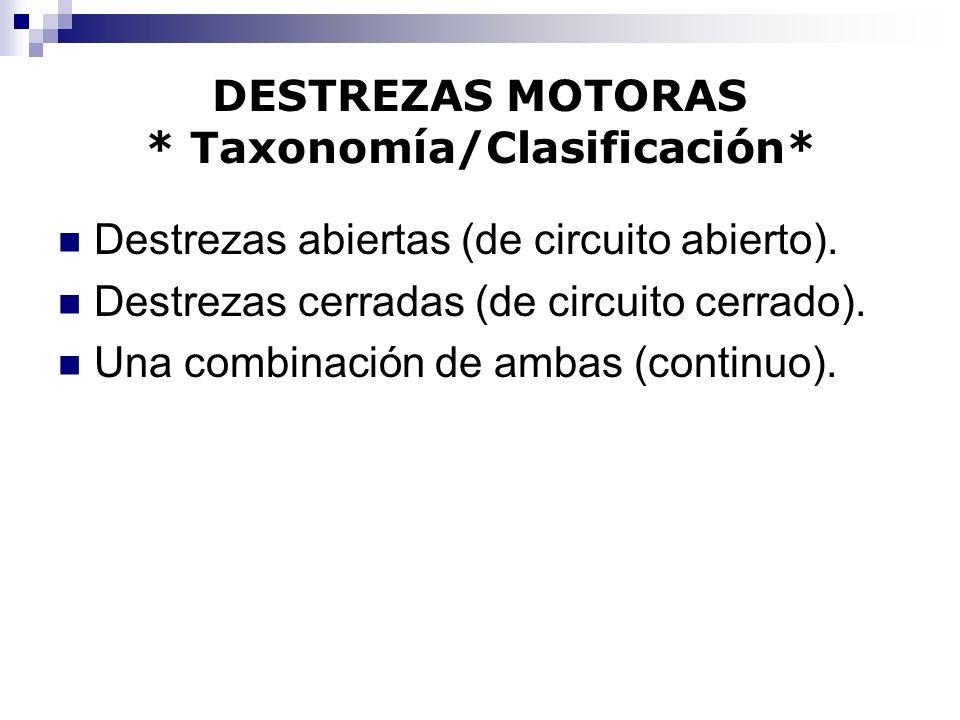 DESTREZAS MOTORAS * Taxonomía/Clasificación* Destrezas abiertas (de circuito abierto). Destrezas cerradas (de circuito cerrado). Una combinación de am