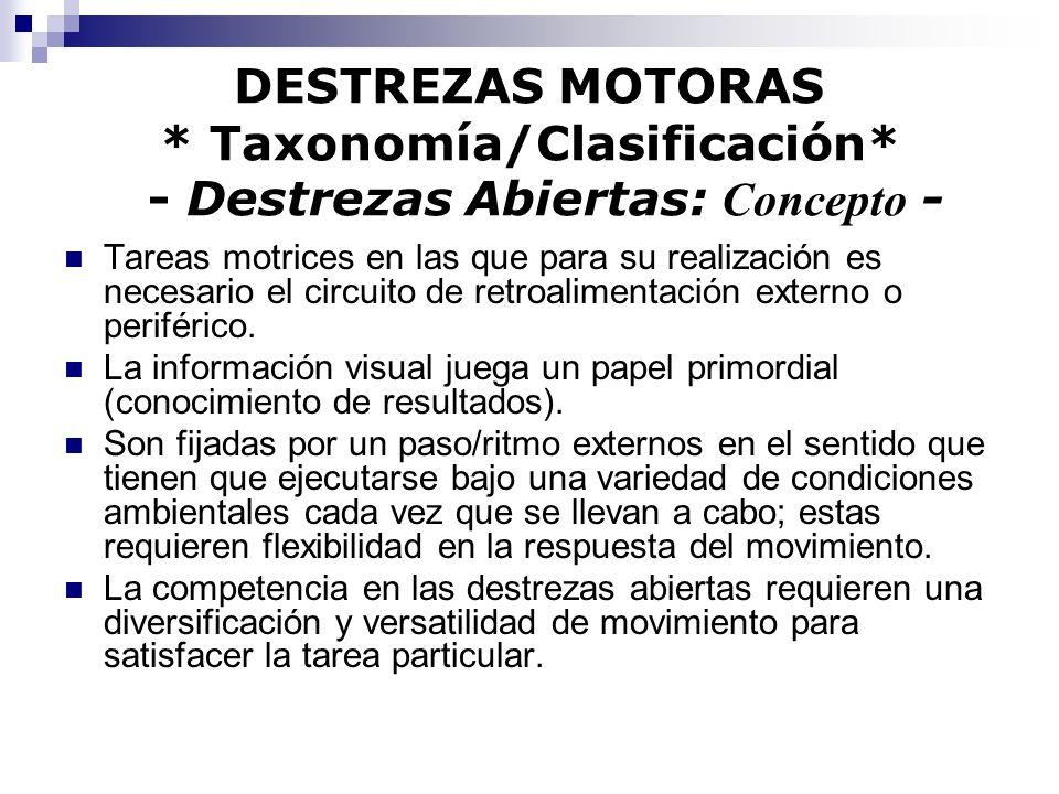 DESTREZAS MOTORAS * Taxonomía/Clasificación* - Destrezas Abiertas: Concepto - Tareas motrices en las que para su realización es necesario el circuito
