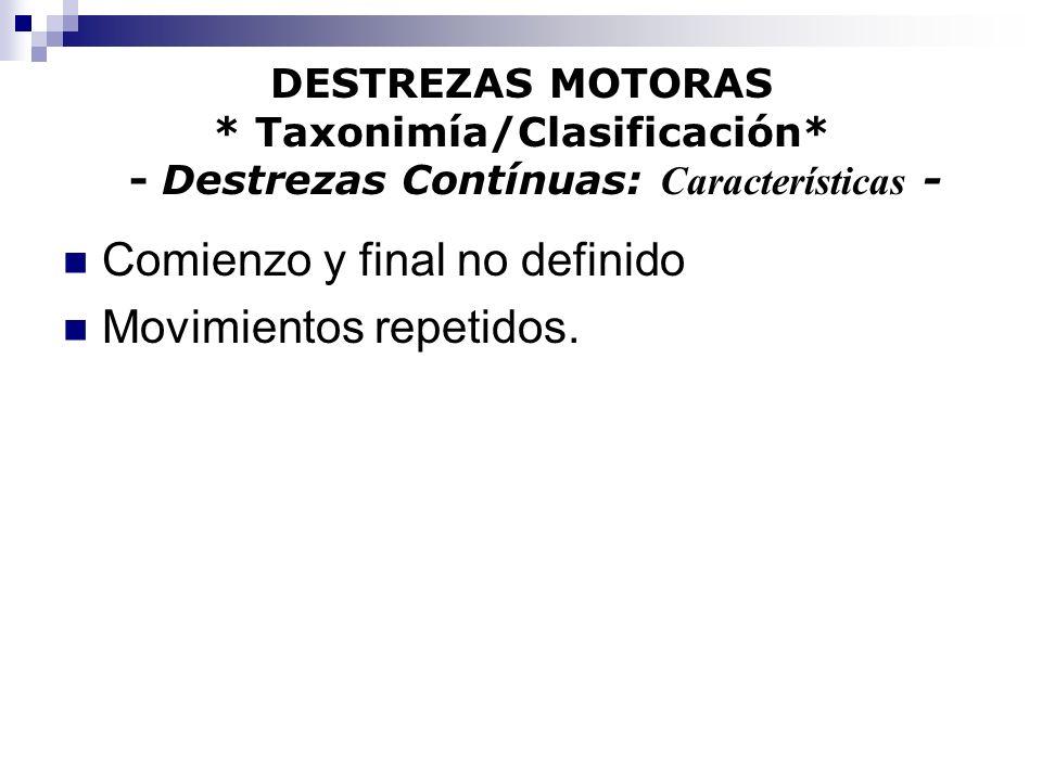 DESTREZAS MOTORAS * Taxonimía/Clasificación* - Destrezas Contínuas: Características - Comienzo y final no definido Movimientos repetidos.